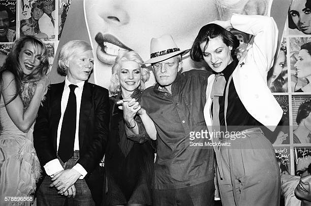 Jerry Hall Andy Warhol Debbie Harry Truman Capote and Paloma Picasso at Interview Party at Studio 54 in June 1979 in New York City