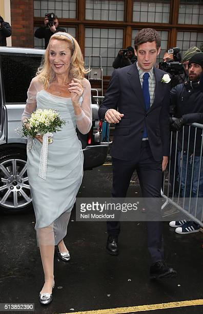 Jerry Hall arrives at St Brides Church on Fleet Street where she will marry Rupert Murdoch on March 5 2016 in London England