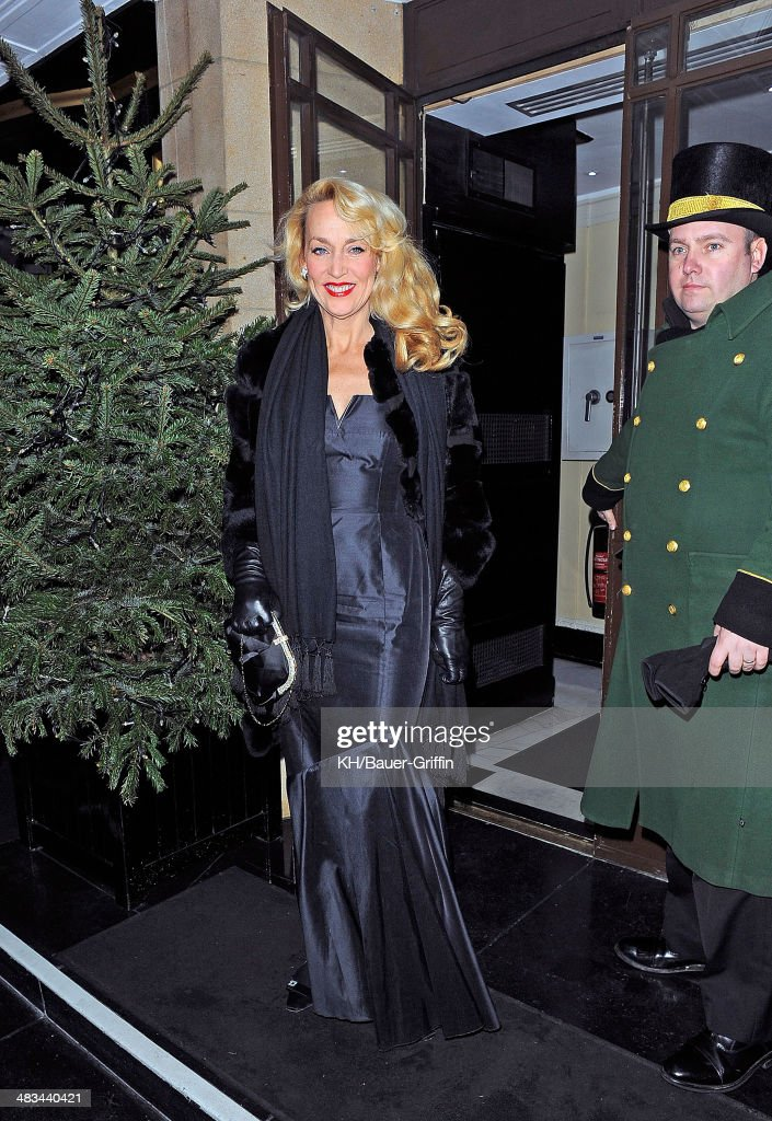 Jerry Hall arrives at The Dorchester Hotel on December 31, 2012 in London, United Kingdom.