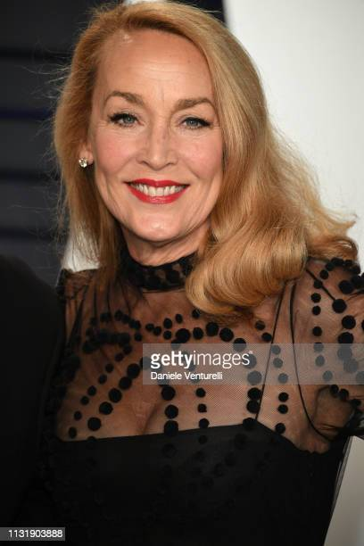 Jerry Hall attends 2019 Vanity Fair Oscar Party Hosted By Radhika Jones at Wallis Annenberg Center for the Performing Arts on February 24, 2019 in...