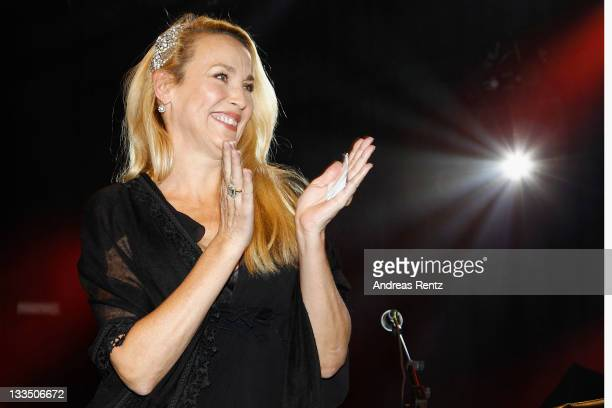 Jerry Hall attends the 20th Unesco charity gala at Maritim Hotel on November 19, 2011 in Duesseldorf, Germany.