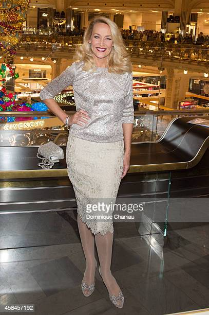 Jerry Hall attends the Galeries Lafayette Christmas Decorations Inauguration In Paris at Galeries Lafayette on November 5 2014 in Paris France