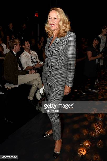 Jerry Hall attends the Marchesa fashion show during New York Fashion Week The Shows at The Dock Skylight at Moynihan Station on September 14 2016 in...