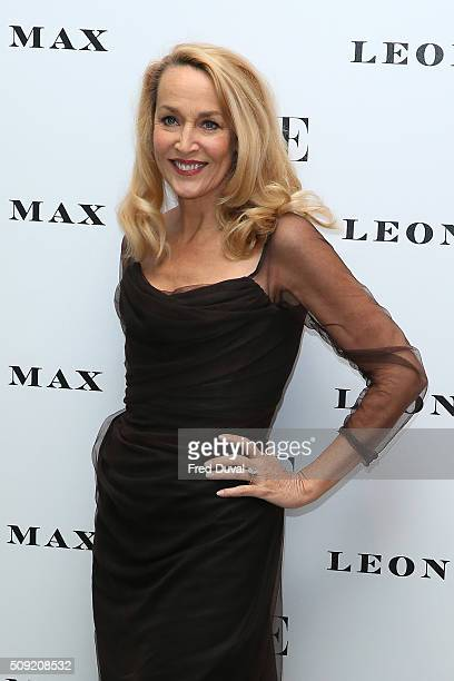 Jerry Hall attends the opening of Vogue100 : A century of Style at National Portrait Gallery on February 9, 2016 in London, England.