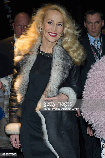 Jerry Hall attends the Shop the Runway presented by Fashion ID show during MercedesBenz Fashion Week Autumn/Winter 2014/15 at Brandenburg Gate on...