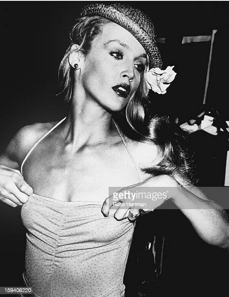 Jerry Hall, backstage, Krizia fashion show, Olympic Towers, New York, New York, 1979.