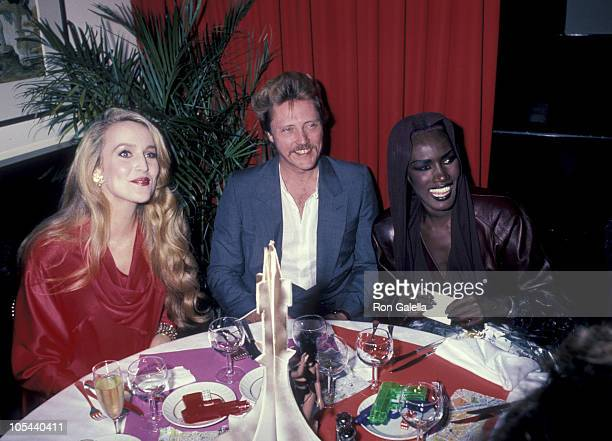 Jerry Hall Christopher Walken and Grace Jones during 'A View to a Kill' Screening Party at Les Tuileries in New York City New York United States