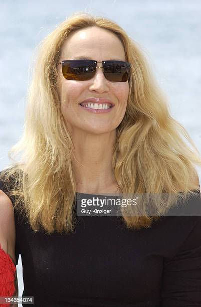 Jerry Hall during Cannes 2002 Jerry Hall Launches a New Swimwear Collection on the Beach at Gallion Beach in Cannes France