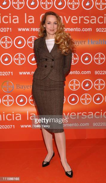 Jerry Hall during Jerry Hall Launches Bayer's 'Healthcare Speak About Erectile and Sexual Dysfunctions' Campaign at Puerta de America Hotel in Madrid...