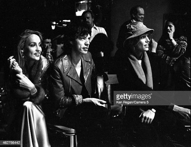 Jerry Hall Mick Jagger of the Rolling Stones and Anita Pallenberg are photographed on the set of Saturday Night Live in October 1978 in New York City...