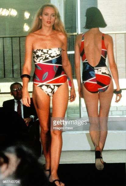 Jerry Hall models her own swimsuit line circa 1983 in New York.