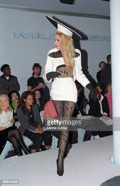 Jerry Hall on catwalk while the Thierry Mugler fashion show spring summer 1996 in Paris Jerry Hall just gave an interview to a UK celebrity magazine...