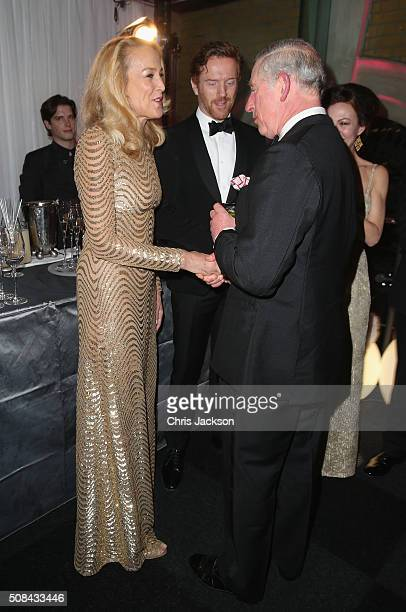 Jerry Hall, Prince Charles, Prince of Wales, Damien Lewis and Helen McCrory chat as they attend a pre-dinner reception for the Prince's Trust Invest...