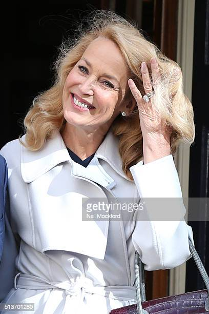 Jerry Hall seen leaving Spencer House after getting married on March 4 2016 in London England