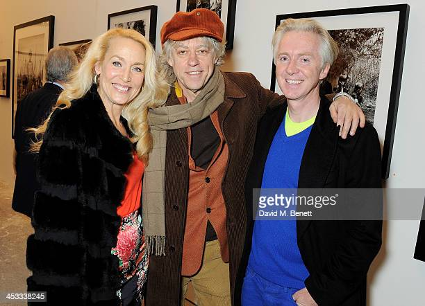 Jerry Hall Sir Bob Geldof and Philip Treacy attend a private view of Nikolai Von Bismarck's new photography exhibition 'In Ethiopia' at 12 Francis...