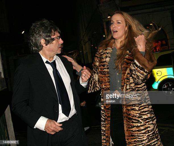 Jerry Hall the ex wife of Rolling Stone Mick Jagger seen leaving The Ivy Restaurant with Bill Wyman London 17th October 2006 16143