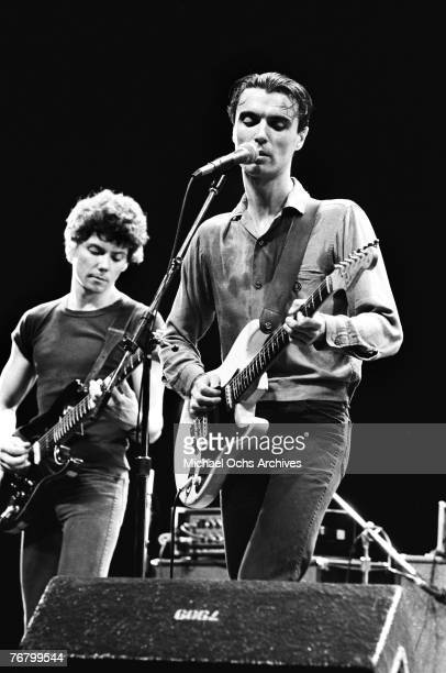 Jerry Harrison and David Byrne of the Talking Heads perform at a concert circa the early1980s in Hollywood California