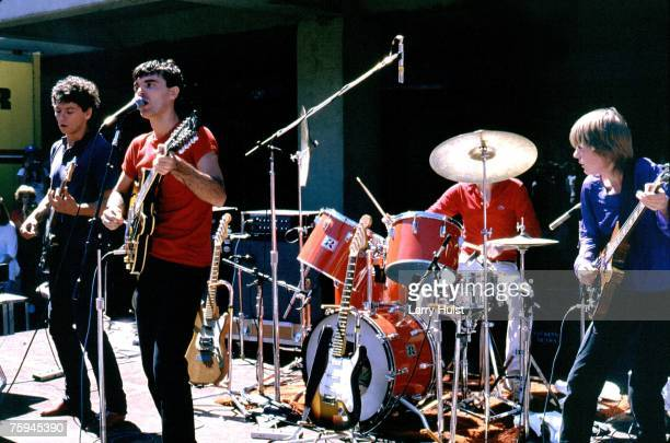 Jerry Harrison David Byrne Chris Frantz and Tina Weymouth of the art rock group Talking Heads perform onstage in circa 1979