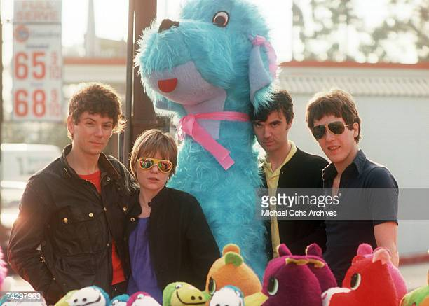 Jerry Harrison Tina Weymouth David Byrne and Chris Frantz and of art rock group The Talking Heads pose for a portrait with giant stuffed animals in...