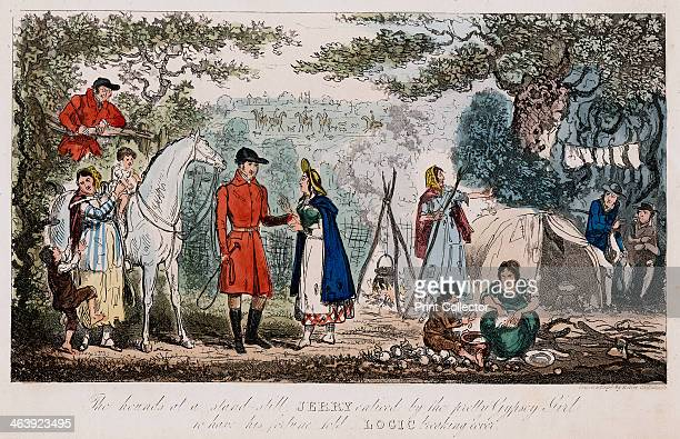 Jerry having his hand read by a gypsy c1828 Jerry takes a break from a hunt to have his hand read told by a pretty gypsy while Logick leans on a...
