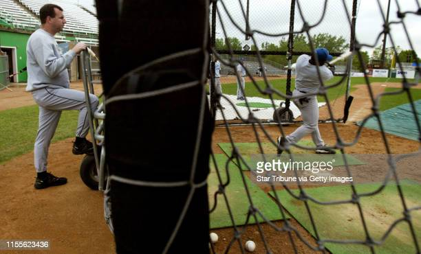 Jerry Holt/Star Tribune 5/17/2004St Paul Saints manger George Tsamis watches on his players hit during practice at Midway stadium GENERAL INFORMATION...