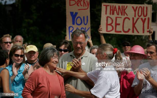 Jerry Holt/Star Tribune 8/21/2005 Minnesota state senator Becky Lourey left received a hug retired FBI agent Coleen Rowley during a welcome home...