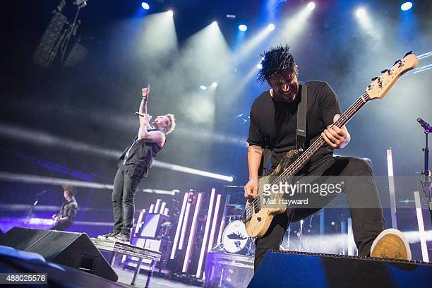 Jerry Horton Jacoby Shaddix and Tobin Esperance of Papa Roach perform on stage at Xfinity Arena on September 12 2015 in Everett Washington