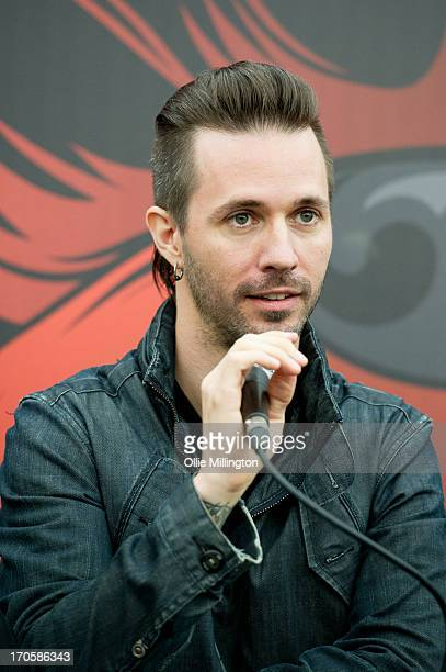 Jerry Horton of Papa Roach during a press conference on Day 1 of The Download Festival at Donnington Park on June 14 2013 in Donnington England