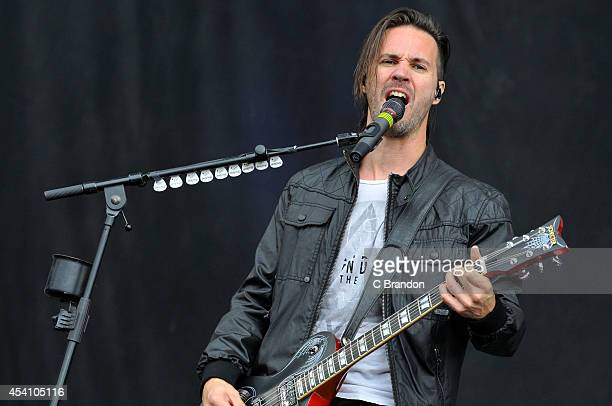 Jerry Horton of Papa Roach performs on stage at the Reading Festival at Richfield Avenue on August 24 2014 in Reading United Kingdom