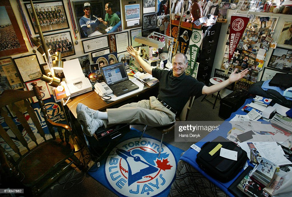 Jerry Howarth shows off his home office filled with sports memorabilia and photos collected over the years in his life in sports as the voice of the Blue Jays on radio as well as his years coaching boys basketball.