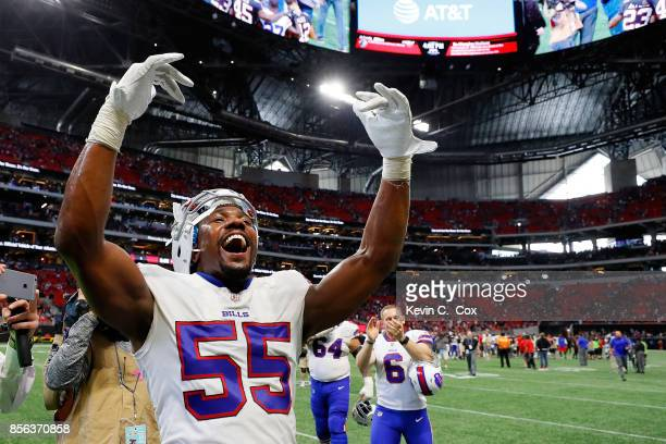 Jerry Hughes of the Buffalo Bills celebrates beating the Atlanta Falcons at Mercedes-Benz Stadium on October 1, 2017 in Atlanta, Georgia.