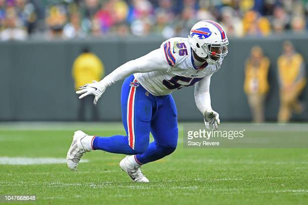Jerry Hughes of the Buffalo Bills rushes the passer during a game against the Green Bay Packers at Lambeau Field on September 30 2018 in Green Bay...