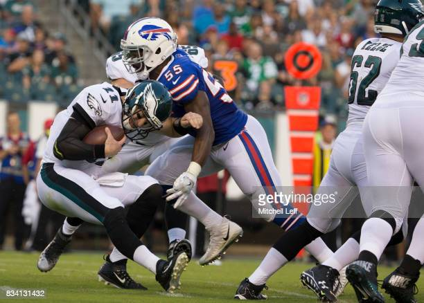 Jerry Hughes of the Buffalo Bills sacks Carson Wentz of the Philadelphia Eagles in the first quarter of the preseason game at Lincoln Financial Field...