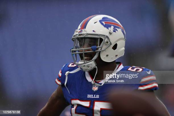 Jerry Hughes of the Buffalo Bills stands on the field prior to the game against the Baltimore Ravens at MT Bank Stadium on September 9 2018 in...