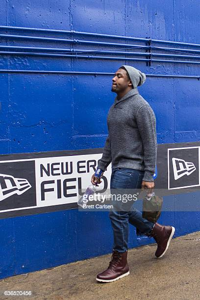 Jerry Hughes of the Buffalo Bills walks into the stadium before the game against the Cleveland Browns on December 18 2016 at New Era Field in Orchard...