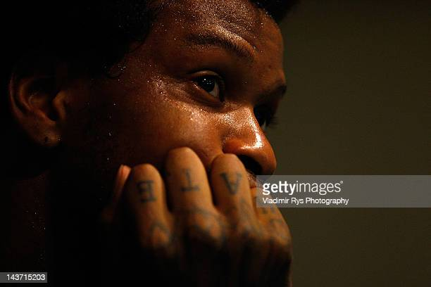 Jerry Jefferson of Triumph looks on in the lockers room during the half time of the FIBA Europe EuroChallenge Final Four third place game between...
