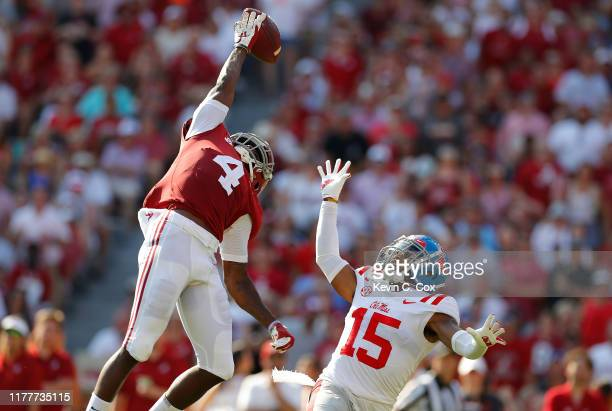 Jerry Jeudy of the Alabama Crimson Tide fails to pull in this reception against Myles Hartsfield of the Mississippi Rebels at BryantDenny Stadium on...