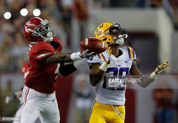 Jerry Jeudy of the Alabama Crimson Tide fails to pull in this reception against Andraez Williams of the LSU Tigers at BryantDenny Stadium on November...