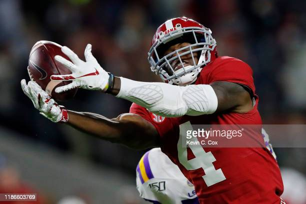 Jerry Jeudy of the Alabama Crimson Tide is unable to catch a deep pass during the second half against the LSU Tigers in the game at BryantDenny...