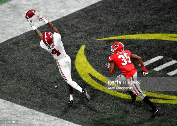Jerry Jeudy of the Alabama Crimson Tide is unable to make a fingertip catch against the Georgia Bulldogs in the CFP National Championship presented...