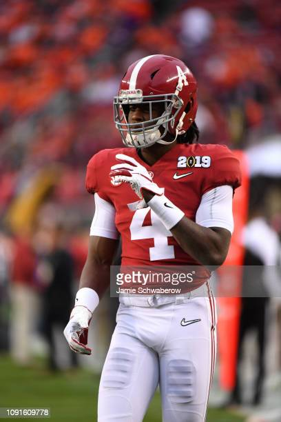 Jerry Jeudy of the Alabama Crimson Tide warms up prior to the College Football Playoff National Championship held at Levi's Stadium on January 7 2019...