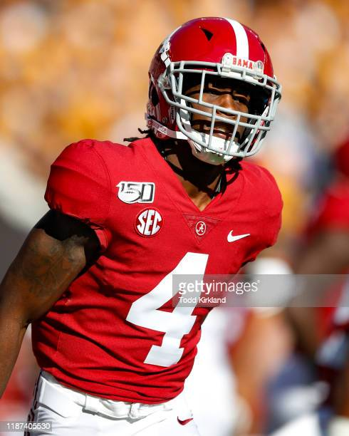 Jerry Jeudy of the Alabama Crimson Tide warms up prior to the game against the LSU Tigers at BryantDenny Stadium on November 9 2019 in Tuscaloosa...