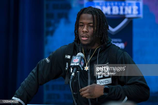 Jerry Jeudy #WO29 of the Alabama Crimson Tide speaks to the media at the Indiana Convention Center on February 25 2020 in Indianapolis Indiana Jerry...