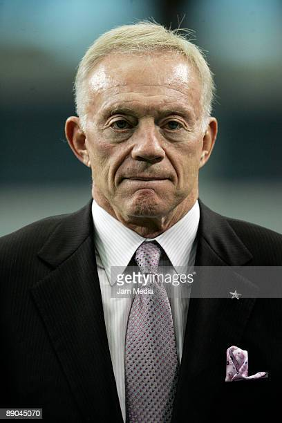 Jerry Jones owner of the Dallas Cowboys during a visit to Mexico's soccer team training session at Cowboys Stadium on July 15 2009 in Dallas Texas