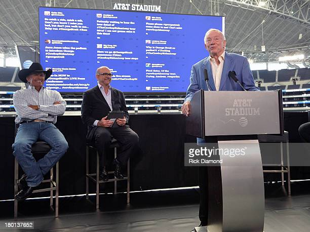 Jerry Jones Owner President and GM of the Dallas Cowboys addresses the press conference for the 2014 The Cowboy Rides Away tour at Dallas Cowboys...