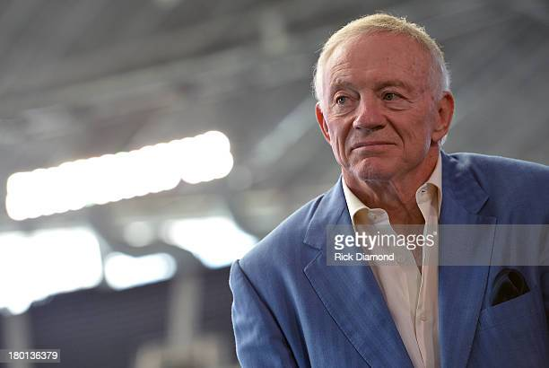 Jerry Jones Owner President and GM of the Dallas Cowboys attends the press conference for the 2014 The Cowboy Rides Away tour at Dallas Cowboys...