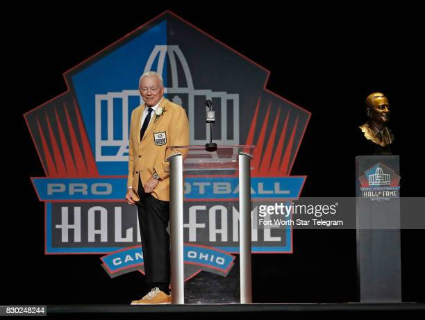 Jerry Jones shows his custom shoes given him by Nike head Phil Knight The 2017 NFL Hall of Fame class including Dallas Cowboys owner Jerry Jones and...