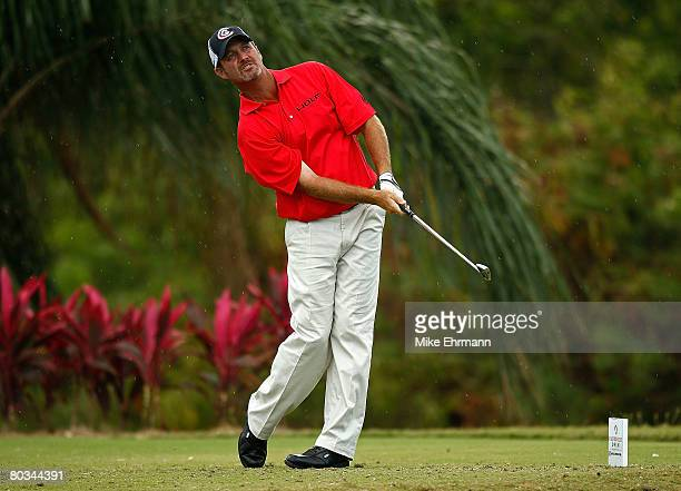 Jerry Kelly hits his tee shot on the 11th hole during the third round of the Puerto Rico Open presented by Banco Popular held on March 22 2008 at...