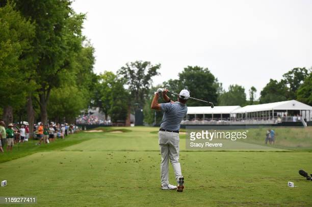 Jerry Kelly hits his tee shot on the 12th hole during the final round of the U.S. Senior Open Championship at the Warren Golf Course on June 30, 2019...