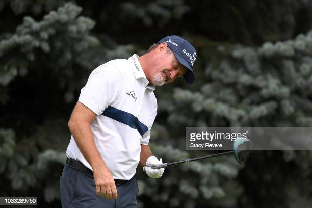 Jerry Kelly hits his tee shot on the second hole during the first round of the Ally Challenge presented by McLaren at Warwick Hills Golf Country Club...